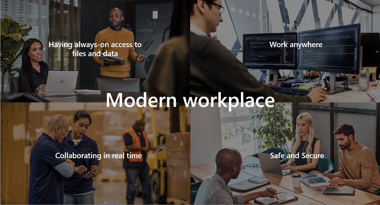 Modern Workplace: Having always-on access to files and data; Work anywhere; Collaborating in real time; Safe and Secure